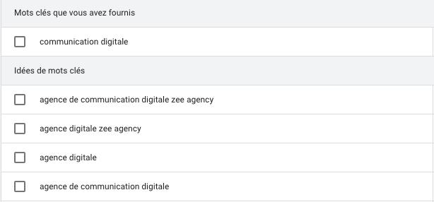 Outil de planification des mots clés Google Ads